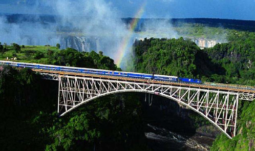 The Blue Train on a scenic route in South Africa