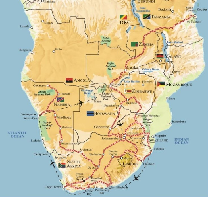 Map Of Africa Land Features.Rovos Pride Of Africa Luxury Train Club