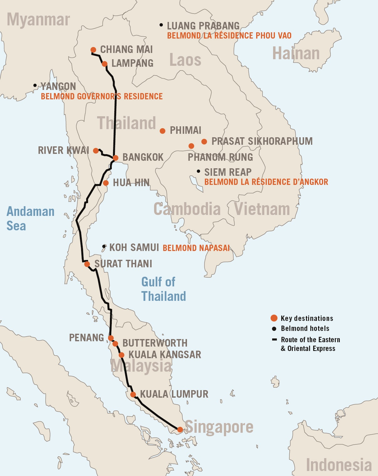 Eastern And Oriental Express Luxury Train Club - Map of us train routes