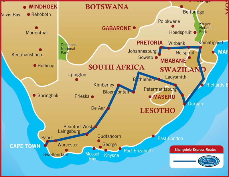 Shongololo express luxury train club itineraries fares - Cape town to port elizabeth itinerary ...