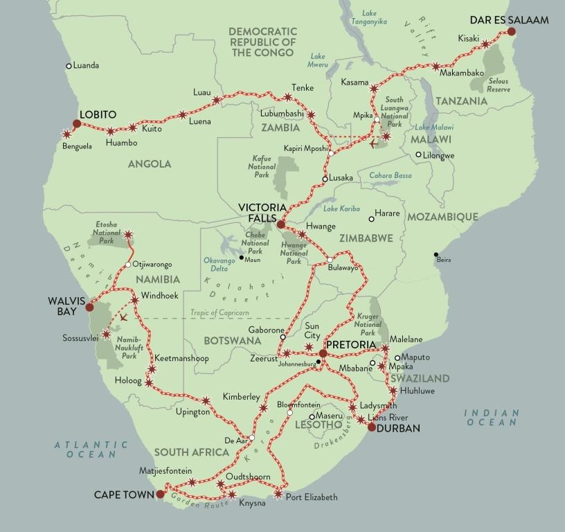Rovos Pride of Africa All Routes Map Luxury Train Club