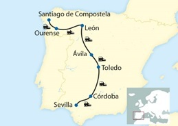 Map Of Spain Showing Seville.Al Andalus Spain Dates Prices Luxury Train Club